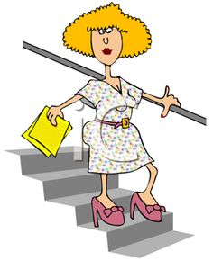 Royalty Free Clipart Image of a Woman Coming Downstairs