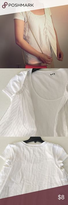 White two piece combo short sleeves t shirt Round neck. White t shirt with a sheer white vest attached. Stretchy. Tops Tees - Short Sleeve