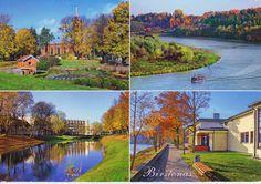 Birstonas. 1. Birstonas panorama. 2. Egle Sanatorium. 3. Panorama of Birstonas,  its environs and the Nemunas River from the Vytautas Hill. 4. Tulpe (Tulip) Sanatorium.