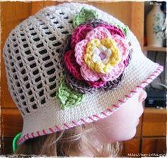 Verano del sombrero del ganchillo de las Niñas (537x511, 187Kb)