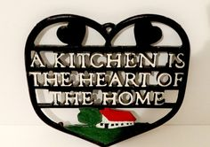 """Vintage Black Metal Heart Shape Kitchen Trivet """"A Kitchen is the Heart of the Home"""" by TimelessTreasuresbyM on Etsy"""