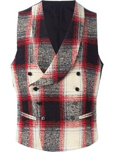 Shop Tagliatore plaid double breasted waistcoat in Gaudenzi Mens Sweat Suits, Mens Tailored Suits, Double Breasted Waistcoat, Estilo Preppy, Suit Combinations, Men's Waistcoat, Style Masculin, Vest And Tie, Dress Neck Designs