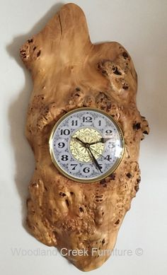 Cabin Wall Clock by Woodland Creek Furniture. Twig Furniture, Rustic Outdoor Furniture, Natural Wood Furniture, Rustic Wall Clocks, Wood Clocks, Rustic Walls, Big Clocks, Clock Art, Grandfather Clock