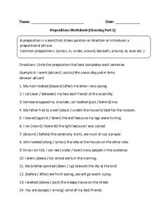 Printables Preposition Worksheets High School circles the ojays and worksheets on pinterest choosing prepositions worksheet