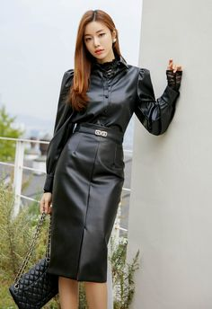 Leather Heels, Leather Skirt, Black Leather, Leder Outfits, Maid Outfit, Leather Dresses, Korean Women, Fashion Outfits, Womens Fashion