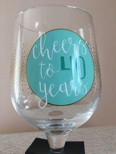 Jumbo Wine Glass 30 oz Cheers to 40 Years Birthday Girl Party Gift Gold Glitter  #ebayrocteam #wine #barware