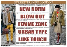 STREET Trends London Fashion Week A/W 2015 trendzine.net  Exciting new developments in womenswear, menswear and youth apparel as street-led fashion provides inspiration for A/W 2015 and beyond!