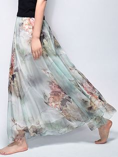 Gracila Bohemian Chiffon Floral Print Elastic Waist Maxi Skirt For Women