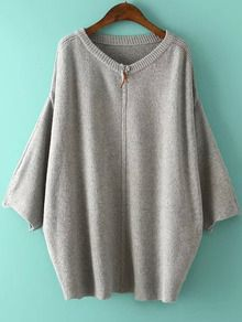 Grey Round Neck Zipper Batwing Knit Sweater