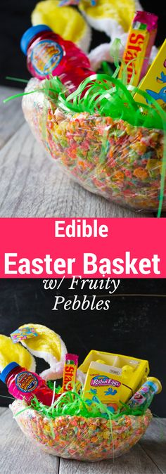 An edible Easter basket made with Fruity Pebbles and marshmallows and then stuffed with more treats, sweet and toys! Your kids will proclaim this Easter the best Easter EVER.