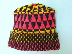 Knit Hat  yellow red black Warm Pyramids by FREAKFLAGFASHION, $25.00