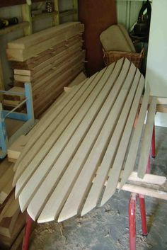 """""""I've used 12 paulownia lengths this time as I found I can get easier access when chambering & less waste, cons - more gluing up . Surfboard Shapes, Wooden Surfboard, Longboard Design, Surf Boards, Wood Boards, Surf Shack, Surf Art, Tall Ships, Kayaking"""