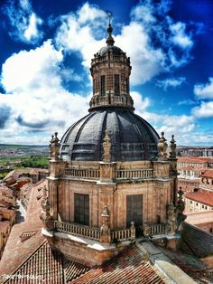 Enjoy the view on the old town from the tower of the Clerecia in Salamanca, Spain