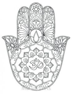 Mandala Hamsa Hand Coloring Pages For Adults Sketch Coloring Page Mandala Art, Mandalas Painting, Mandalas Drawing, Mandala Coloring Pages, Coloring Book Pages, Printable Coloring Pages, Coloring Pages For Kids, Zentangles, Hamsa Drawing