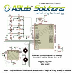 Learn how to make an Obstacle Avoider Robot with AVR ATmega16 Microcontroller using Analog IR Sensor and free download circuit diagram, code/program.ABLab Solutions.