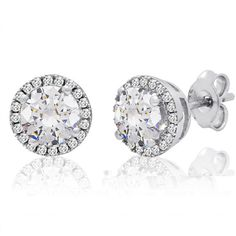 Sterling Silver Halo Stud Earrings with Swarovski Crystals ($30) ❤ liked on Polyvore featuring jewelry, earrings, swarovski crystal earrings, stud earrings, swarovski crystal jewellery, stud earring set and sterling silver jewellery