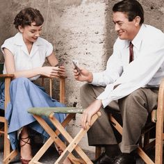 "Gregory Peck and Audrey Hepburn on the set of Roman Holiday(1953). Looks like after the scene where she cuts her hair. ""All off."" ""All off??"" ""All off."" She was phenomenal❤️ #AudreyHepburn#GregoryPeck#RomanHoliday#Love#Actress#Actor#Glam#OldHollywood#Fifties#1953#Vintage#VintageTimes#Oldies#Best#Romance#OffSet"