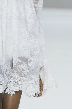 sneakers and pearls, white lacy summer dress, runway, bell sleeves, , trending now