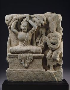 Relief fragment depicting Prince Siddhartha, the future Buddha, cutting his hair in renunciation  Gandhara, 1st century AD (AD 1 - 100)