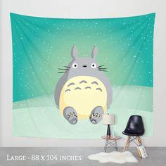 Totoro Wall Tapestry from Studio Ghibli Animation, Kids Room Decor