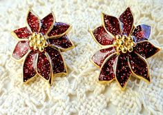 Vintage Christmas Holiday Earrings Red and by VikisVarietyCraft