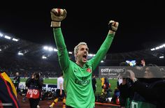 Manuel Almunia of Arsenal celebrates victory after penalties during the UEFA Champions League, Round of Last 16, Second Leg match between AS Roma and Arsenal at the Stadio Olimpico on March 11, 2009 in Rome, Italy.