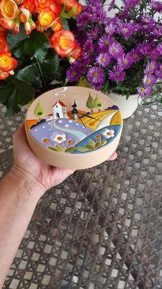 ceramica come mestiere: Orologio da parete con scena campestre. ceramica cuerda seca.