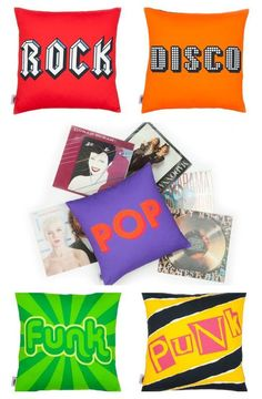 Seriously fun musical genre pillows by Quirk & Rescue