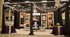 Gregory Byerline Photogragrapher bridal show booth 2012    Love the idea of the chairs with the end table in the middle and having the pretty christmas lights above or somehow incorporated into the booth.