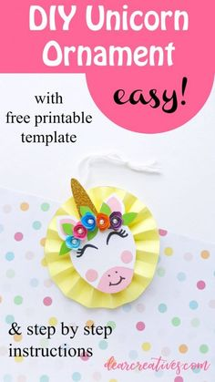 Make unicorn ornaments for Christmas tree ornaments or for kids' parties unicorn themed baby showers or a craft activity. Birthday Favors, Unicorn Birthday Parties, Unicorn Party, Christmas Tree Ornaments, Christmas Crafts, Christmas Decorations, Easy Paper Crafts, Paper Crafting, Diy Crafts