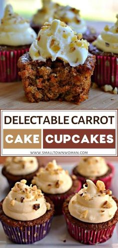 Easy moist Carrot Cake Cupcakes with crushed pineapple and walnuts topped with white chocolate cream cheese frosting! This small-batch dessert recipe is ideal for anyone looking for a little carrot cake fix without making the huge three-layer cake. Make this family-friendly sweet treat! Recipes With Crushed Pineapple, Carrot Cake With Pineapple, Easy Carrot Cake, Moist Carrot Cakes, Carrot Cake Muffins, Carrot Cake Cupcakes, Pineapple Recipes, Cupcake Cakes, Poke Cakes