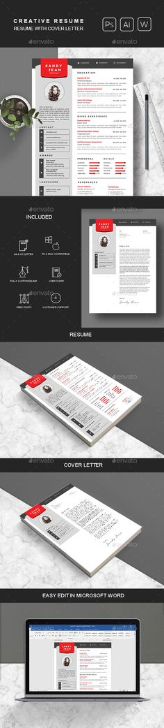 Clean #Resume & #Cover Letter - #Resumes Stationery Download here: https://graphicriver.net/item/clean-resume-cover-letter/20285195?ref=alena994