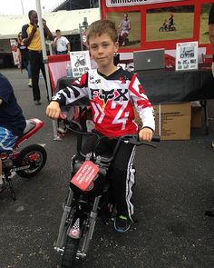 This little guy was dressed for riding!   #gatewaymotorsportspark #nhra #electricminibike #minibike #burromax