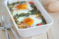 Baked Eggs with Spinach, Tomatoes and Garlic | 5DollarDinners