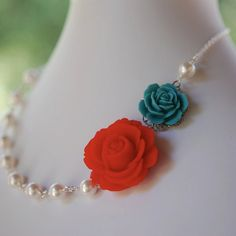 Red and Turquoise Pearl Necklace