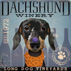 Dachshund Wine Company artwork original graphic illustration signed archival artists print giclee 12 x 12 Arte Dachshund, Dachshund Love, Daschund, Retro, Weenie Dogs, Doggies, Wow Art, Print Artist, Baby Dogs