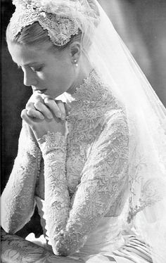 "Grace Kelly at her wedding to Prince Rainier of Monaco, 1956 Her gown, of peau de soie and lace, was designed by Helen Rose of MGM - ""one of the most elegant and best-remembered bridal gowns of all..."