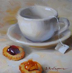 """Morning Tea"" - Original Fine Art for Sale - © Elena Katsyura"