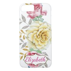 Pretty Pink & Yellow Roses Personalized iPhone 7 Case