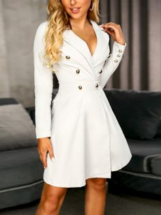 Long Sleeve Button Design Blazer Dress New Arrival Bikinis, Jumpsuits, Dresses, Tops, High Heels on Sale. Refresh Your Picks Now. Cute Dresses, Casual Dresses, Short Dresses, Dresses For Work, Dress Long, Classy Dress, Classy Outfits, Stylish Outfits, Dress Outfits