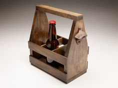 Poplar Wooden Beer Tote, Kona Stain from BeerLoved
