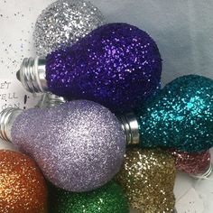 Bright IDEA   THREE Glitter Light Bulbs  Write your by ArtZodiac  You will receive THREE Glitter Bulbs     Here's a BRIGHT IDEA !    Just Write your message on the tag and give to a friend :) or keep for yourself :)