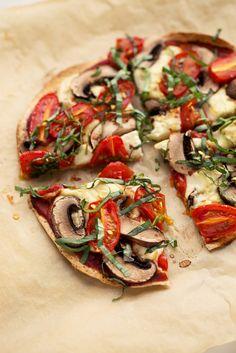 Tortilla Pizza with Homemade Mozzarella, Mushrooms, Tomatoes, & Basil