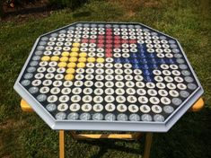 The Perfect Accessories for Every at-Home Bar - Man Cave Home Bar Beer Cap Table, Bottle Cap Table, Beer Pong Tables, Bottle Cap Art, Bottle Top, Beer Bottle, Diy Bottle Cap Crafts, Bottle Cap Projects, Beer Cap Art
