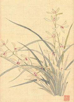 Korean Painting, Chinese Painting, Chinese Art, Chinese Brush, Asian Flowers, Oriental Flowers, Oriental Pattern, Korean Art, Art Template