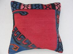 "Embroidered Handwoven Striped different...i like this. Vintage Tribal Turkish Kilim Pillow cover 16"" x 16"""