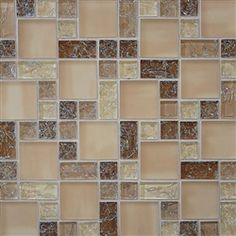 Crackle Glass Tile - Various Sized Crackled Glossy Glass and Frosted Glass Tile Mosaic - Tan Blend