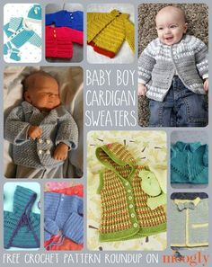 Crochet cardigans for baby boys. So glad I found this. You see a lot for little girls but not a whole lot for little boys that doesn't look too girly