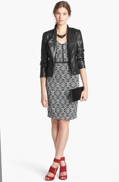 Fall Office Style: Print Dress, Leather Jacket, & Red Pumps