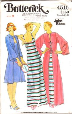 Butterick 4510 Misses Nightgown with Low U Neckline and Han Bok Style Robe womens vintage sewing pattern John Kloss and by mbchills Diy Fashion, Vintage Fashion, Fashion Outfits, Fashion Trends, Vintage Dress Patterns, Vintage Dresses, Short Hair Outfits, Plus Size Sewing, Vintage Nightgown